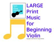 LARGE Print Music for Beginning Violin