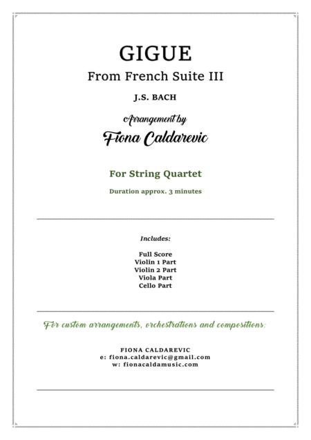 J.S. Bach - Gigue from French Suite III - for String Quartet