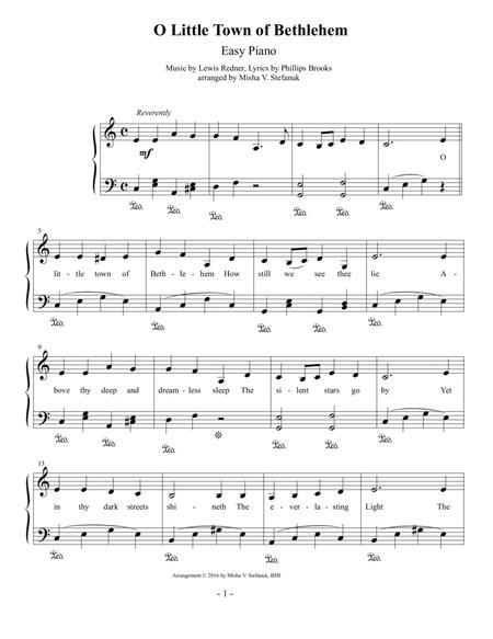 O Little Town of Bethlehem, Easy Piano
