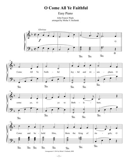 O Come All Ye Faithful, Easy Piano