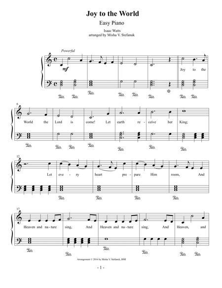 Joy to the World, Easy Piano
