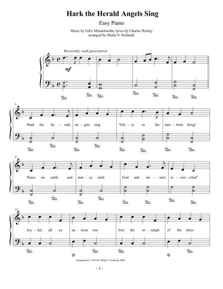 Download Hark The Herald Angels Sing, Easy Piano Sheet Music By ...