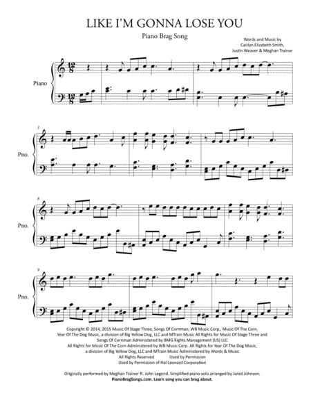 Download Like I'm Gonna Lose You (Simplified Piano Solo