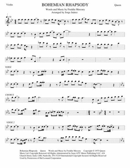 Download Bohemian Rhapsody Violin Piano Bass Guitar Sheet Music