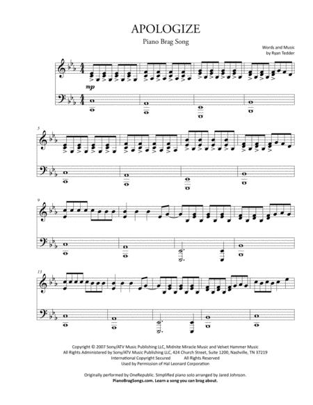 Download Apologize Short Piano Solo Onerepublic Sheet Music By