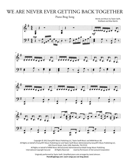 We Are Never Ever Getting Back Together (Simplified Piano Solo) - Taylor Swift