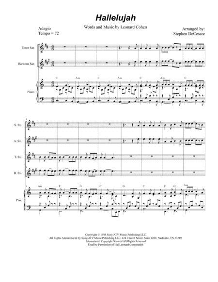 Hallelujah (for Saxophone Quartet)