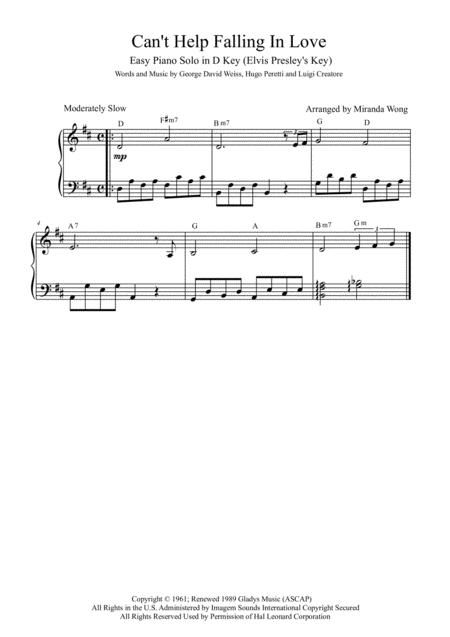 Download Cant Help Falling In Love Easy Piano Solo In D Key With