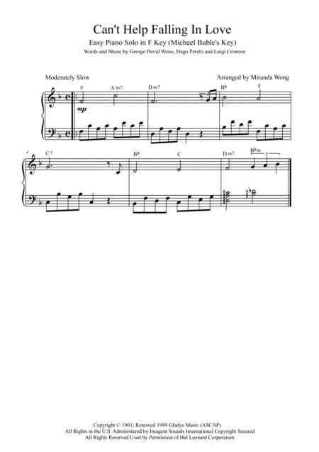 Can't Help Falling In Love - Easy Piano Solo in F Key (Michael Bublé)