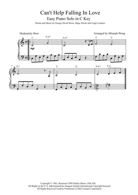 Download Cant Help Falling In Love Easy Piano Solo In 3 Keys For