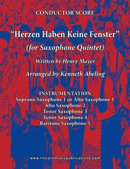 Herzen Haben Keine Fenster (for Saxophone Quintet SATTB or AATTB)