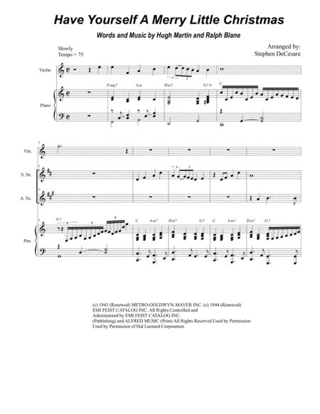 Have Yourself A Merry Little Christmas (Duet for Soprano and Alto Saxophone)