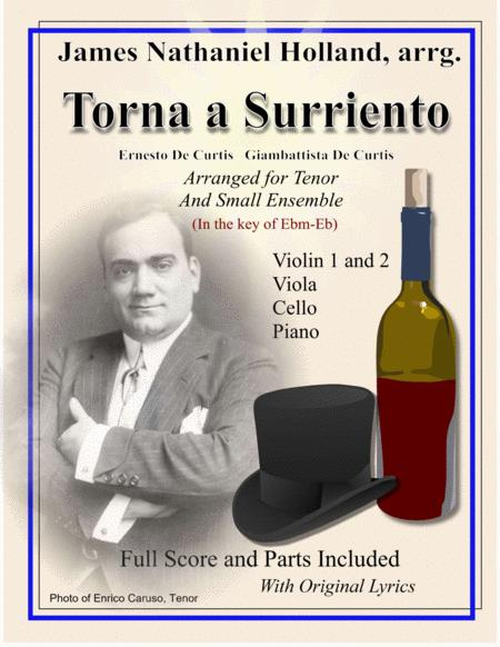 Torna a Surriento for Tenor and Small Ensemble in the key of Eb