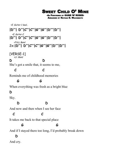Download Sweet Child O Mine D Sheet Music By Guns N Roses