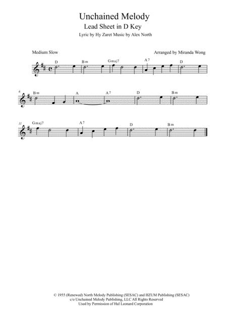 Unchained Melody - Lead Sheet in D Key (With Chord)