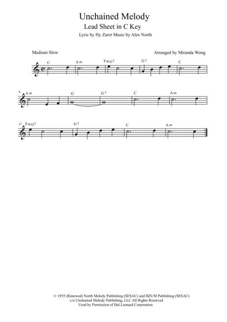 Download Unchained Melody - Lead Sheet In C Key (With Chord) Sheet ...