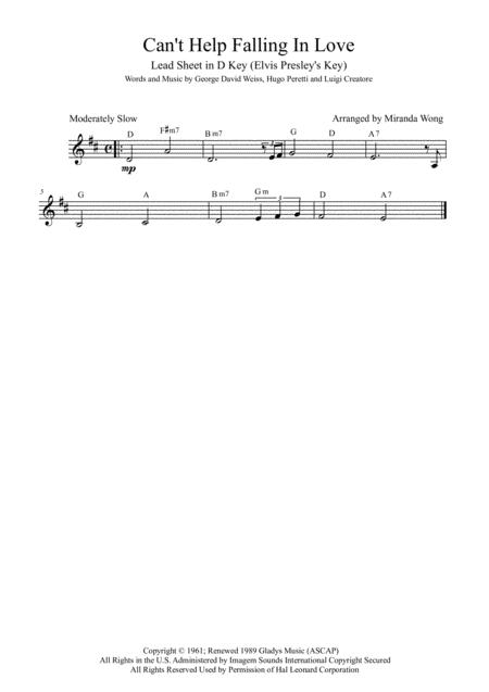Download Cant Help Falling In Love Lead Sheet In D Key With
