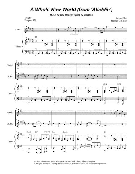 A Whole New World (Duet for Soprano and Alto Saxophone)