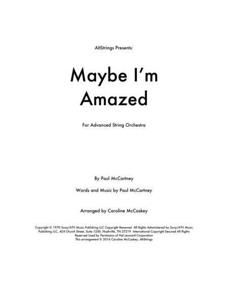 Maybe I'm Amazed - String Orchestra