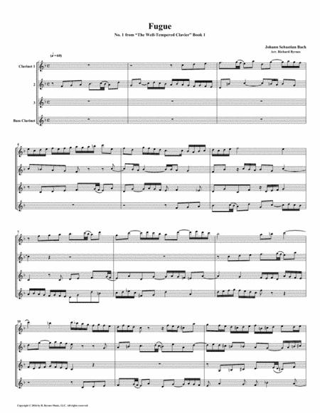 Fugue No. 1 from Well-Tempered Clavier, Book 1 (Clarinet Quartet)