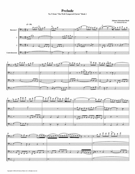 Prelude 09 from  Well-Tempered Clavier, Book 1 (Bassoon Quartet)