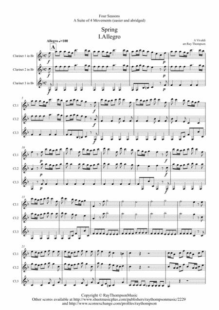 Vivaldi: Four Seasons: A Suite of 4 Movements (easier and abridged) - clarinet trio
