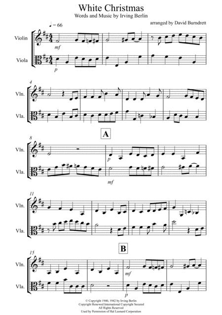 White Christmas for Violin and Viola Duet