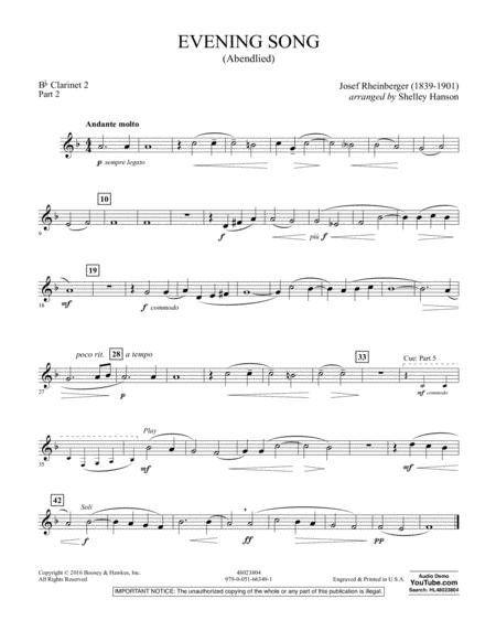 Evening Song (Abendlied) - Pt.2 - Bb Clarinet 2