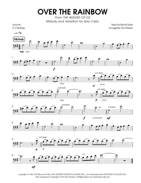 Over The Rainbow (from The Wizard Of Oz) - Melody and Strummed Pizzicato Variation for Solo Cello