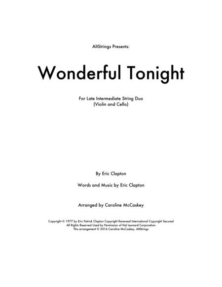 Wonderful Tonight - Violin and Cello Duet
