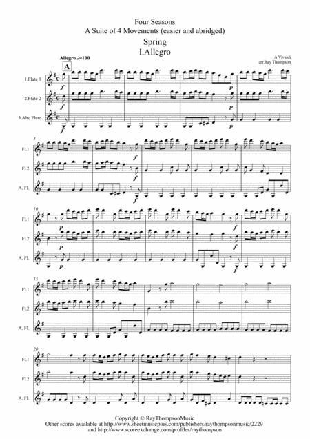 Vivaldi: The Four Seasons (Le quattro stagioni): A Suite of 4 Movements (easier and abridged) - flute trio