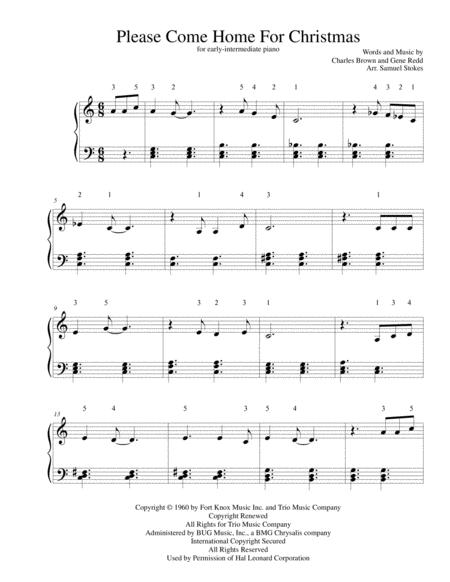 Please Come Home For Christmas - for early-intermediate piano