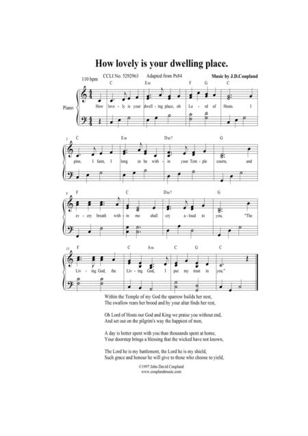 Download How Lovely Is Your Dwelling Place Sheet Music By John David ...