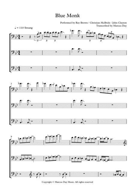 Download Blue Monk Superbass Transcription Double Bass Trio Sheet