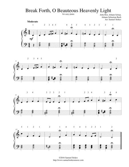 Break Forth, O Beauteous Heavenly Light - for easy piano