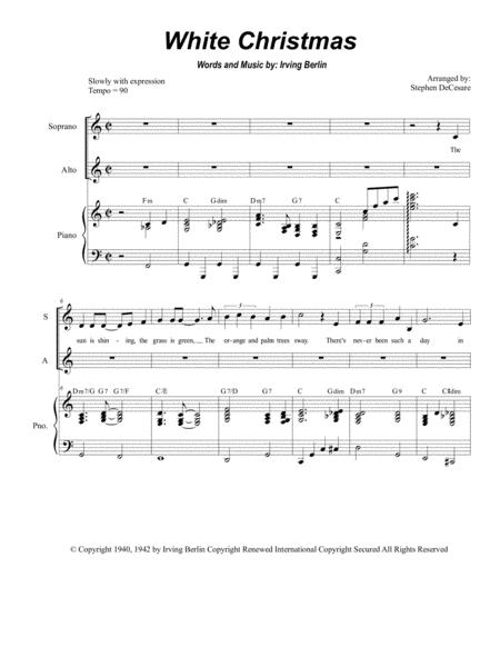 Christmas Duets.White Christmas Duet For Soprano And Alto Solo By Irving