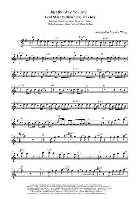 Download Just The Way You Are - Lead Sheet In G Key (With Chords ...