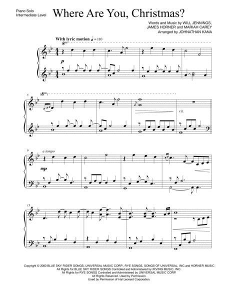 Where Are You Christmas.Where Are You Christmas Piano Solo By Mariah Carey