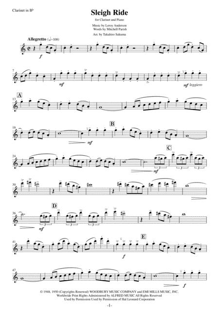 Sleigh Ride for Clarinet and Piano