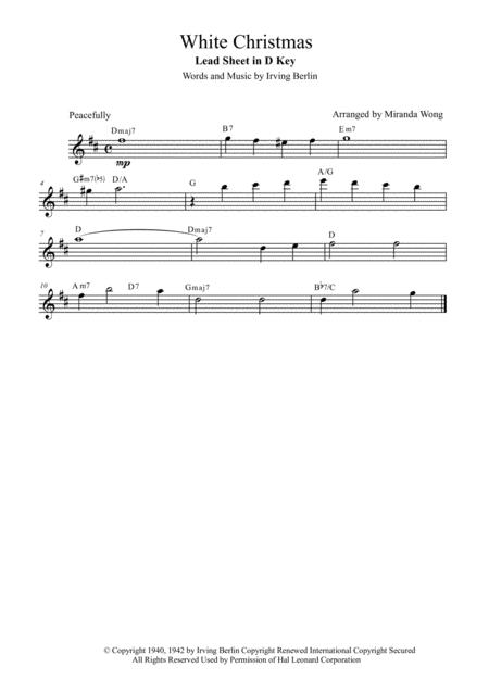White Christmas - Lead Sheet in D Key (With Chords)