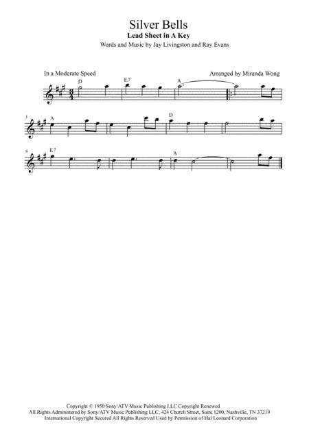 Download Silver Bells - Lead Sheet In A Key (With Chords) Sheet ...
