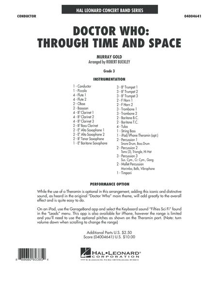 Doctor Who: Through Time and Space - Conductor Score (Full Score)