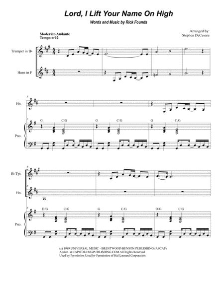 Lord, I Lift Your Name On High (Duet for Bb-Trumpet and French Horn)