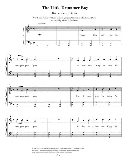 Download The Little Drummer Boy, Easy Piano Sheet Music By Katherine ...