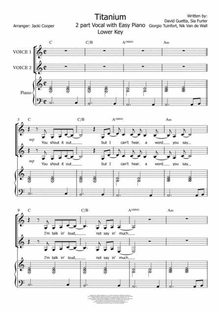 Download Titanium - For 2 Voices With Chords And Easy Piano ...