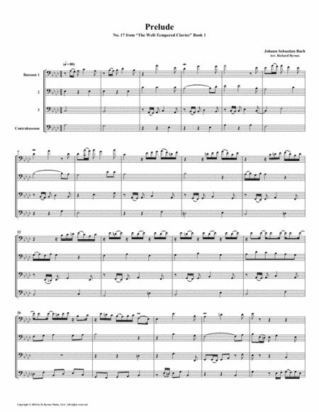 Prelude 17 from  Well-Tempered Clavier, Book 1 (Bassoon Quartet)