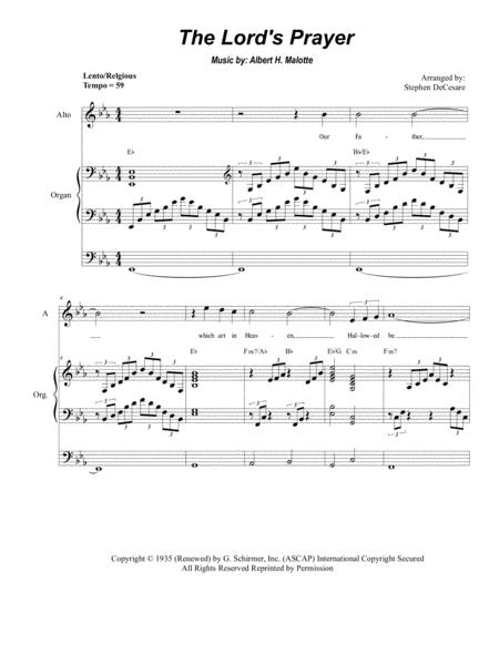 The Lord's Prayer (Duet for Soprano & Alto Solo - High Key - Organ)