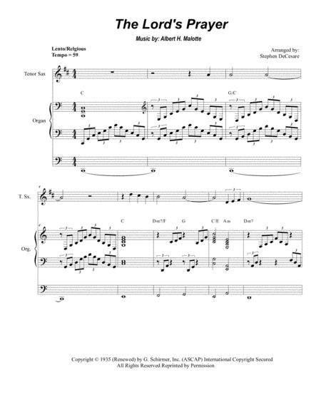 The Lord's Prayer (Duet For Soprano & Tenor Saxophone - Organ Accompaniment)