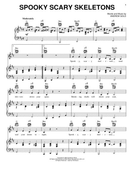 Download Spooky Scary Skeletons Sheet Music By Andrew Gold - Sheet ...