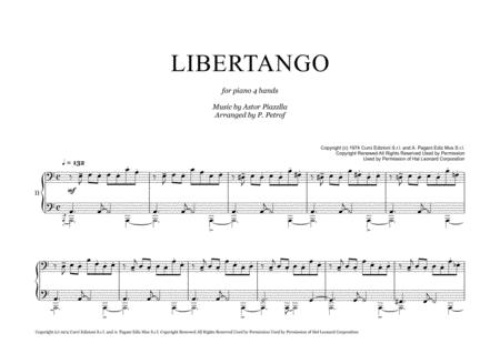 A  Piazzolla - LIBERTANGO for piano 4 hands FREE Sheet Music Notes